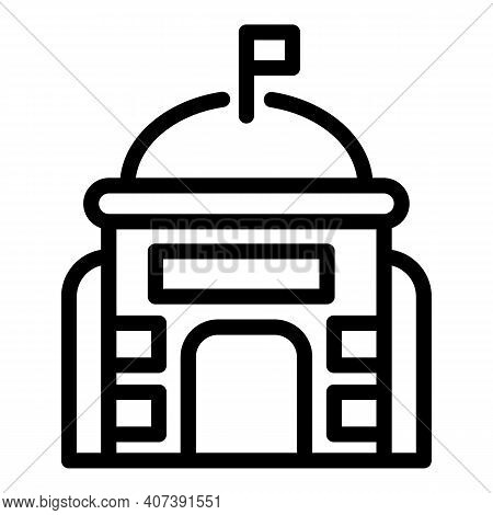 Authority Building Icon. Outline Authority Building Vector Icon For Web Design Isolated On White Bac