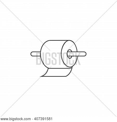 Toilet Paper Roll Line Icon In Flat. Vector