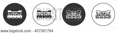 Black Cargo Train Wagon Icon Isolated On White Background. Freight Car. Railroad Transportation. Cir