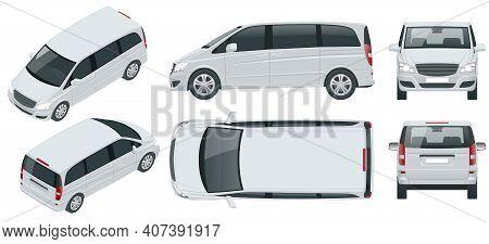 Electric Minivan With Premium Touches, Passenger Van Car Vector Template On Background. Multi Purpos