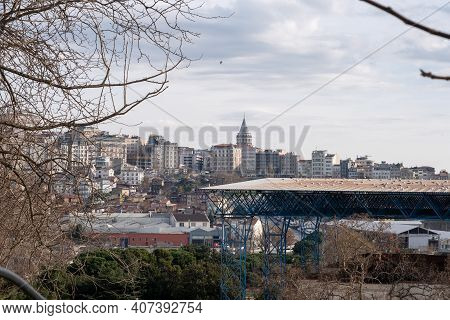 Istanbul/turkey - 01.22.2021: Wide Cityscape Of Galata Tower And Beyoglu Region With A Lot Of Apartm