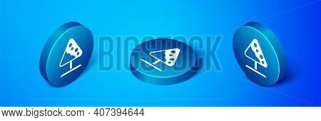 Isometric Road Sign Avalanches Icon Isolated On Blue Background. Snowslide Or Snowslip Rapid Flow Of
