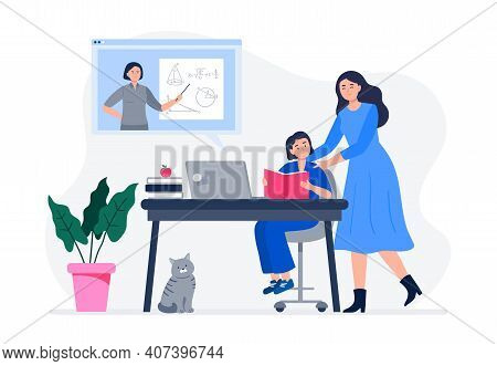 A Mother Helps Her Child Do Homework. Online Education, Schooling, Courses, Homework, Quarantine. Fl