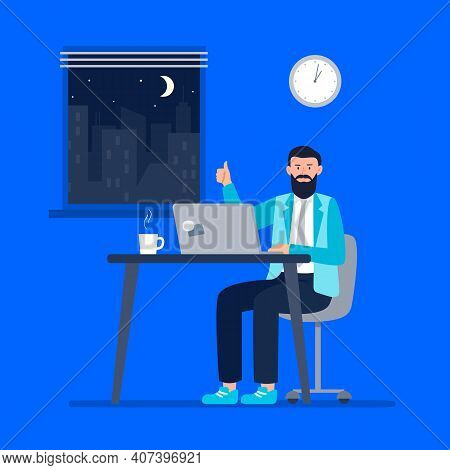 A Energy Man Works At Night. Working At Home, Telework, Freelance. Vector Flat Illustration.