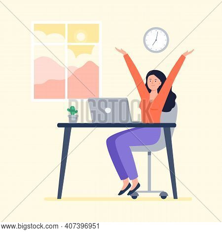 A Energy Woman Starts Work At Morning. Working At Home, Telework, Freelance. Vector Flat Illustratio