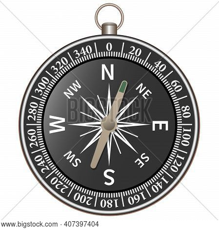 Realistic Hiking Compass Isolated On White Background Vector Illustration, Navigation And Finding Th