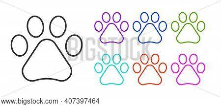 Black Line Paw Print Icon Isolated On White Background. Dog Or Cat Paw Print. Animal Track. Set Icon