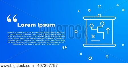 White Line Planning Strategy Concept Icon Isolated On Blue Background. Cup Formation And Tactic. Vec