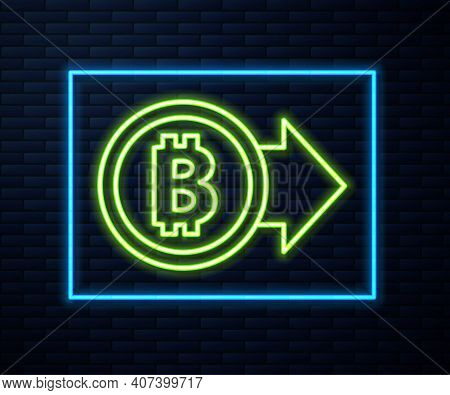 Glowing Neon Line Cryptocurrency Coin Bitcoin Icon Isolated On Brick Wall Background. Physical Bit C