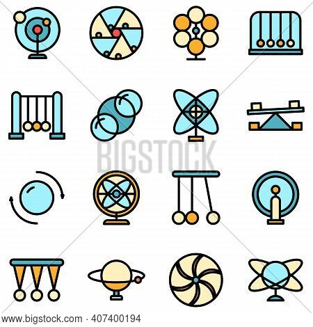 Perpetual Motion Icons Set. Outline Set Of Perpetual Motion Vector Icons Thin Line Color Flat On Whi