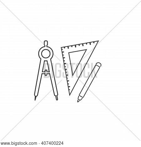 Set Of Ruler Compasses Pencil Line Icon In Flat Style. Vector Sign, Set For Architect