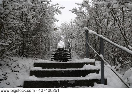 A View Of The Stairs From The Bottom In The Park.