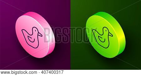 Isometric Line Rubber Duck Icon Isolated On Purple And Green Background. Circle Button. Vector