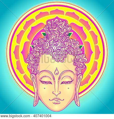 Buddha Face Over Ornate Mandala Pattern. Esoteric Vintage Vector Illustration. Indian, Buddhism, Spi