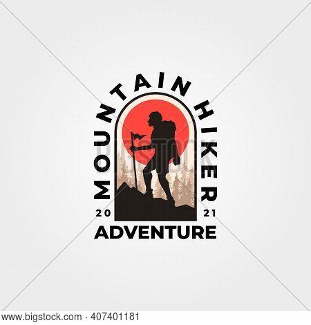 Man Hiking Mountain Logo Vector Vintage Adventure Expedition Illustration Design