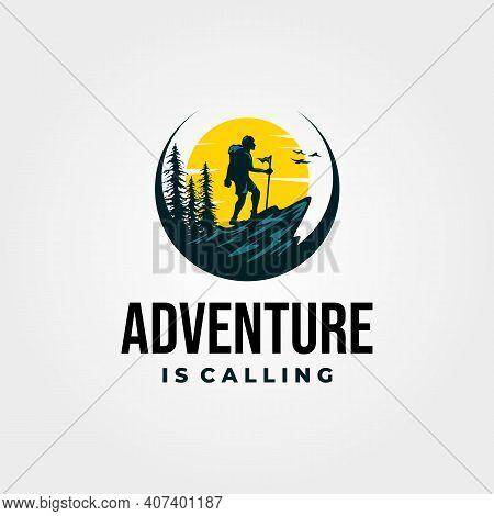 Adventure Hiking Logo Vector Vintage With Sunset Illustration Design