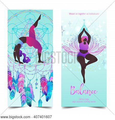 Plus Size Curvy Lady Doing Yoga Class. Yoga Card Design. Colorful Template For Spiritual Retreat Or