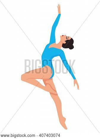 Elegant Ballerina In Blue Leotard With Sleeves, Hand Drawing Vector, Isolated On The White Backgroun