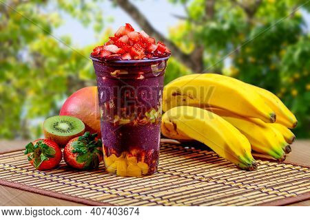 Acai Cup With Strawberry Topping Banana, Kiwi, Delicious Brazilian Açaí Creamy