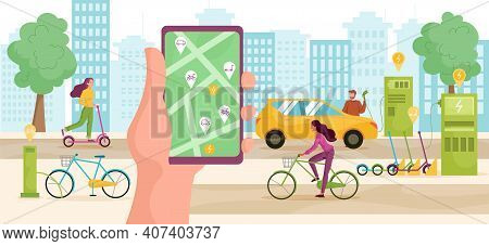 Modern Urban Lifestyle Concept. Male And Female Characters Using Rental Services Bicycles, Kick Scoo