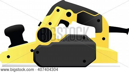 Electric Planer Repair Tool Outline Vector Illustration Isolated