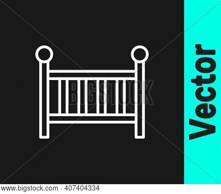 White Line Baby Crib Cradle Bed Icon Isolated On Black Background. Vector
