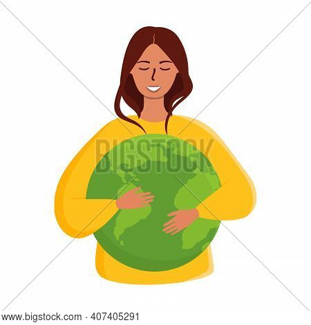 Flat Vector Cartoon Illustration Of A Woman Embracing The Green Planet Earth With Care And Love. Wor