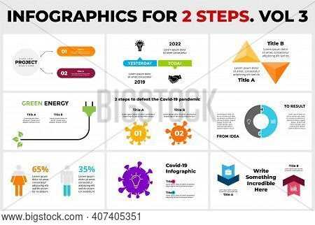 9 Infographics For 2 Steps, Options. Presentation Slide Template. Male And Female Percentage Chart D