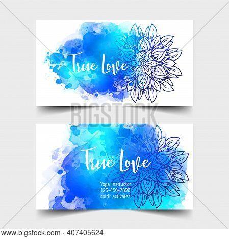 Yoga Card Design. Colorful Template For Spiritual Retreat Or Yoga Studio. Ornamental Business Cards,