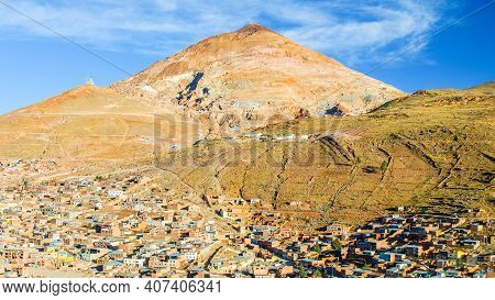 Cerro Rico, English: Rich Mountain, Quechuan: Sumaq Urqu. Andean Peak Above Potosi City In Bolivia.