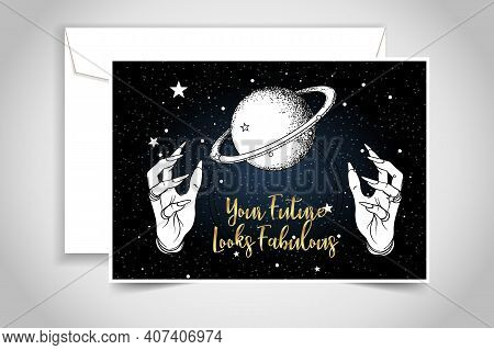 Crystal Ball With Female Hands With Female Hands Isolated On Black. Creepy Cute Vector Illustration.