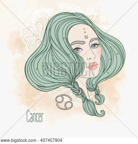 Zodiac Illustration Of Cancer Zodiac Sign As A Beautiful Girl. Vector Art. Vintage Zodiac Boho Style