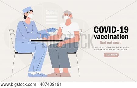 Doctor In Clinic Giving Coronavirus Vaccine To Elderly Woman, Concept Illustration For Immunity Heal