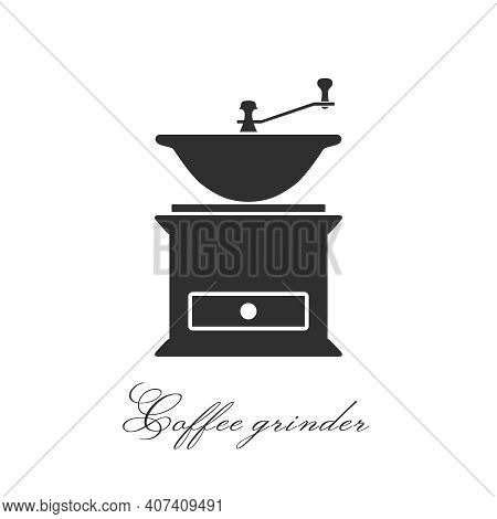 Coffee Grinder. Hand Mill Silhouette. Vector Simple Flat Icon. Cafe Accessories Hand Mill. Isolated