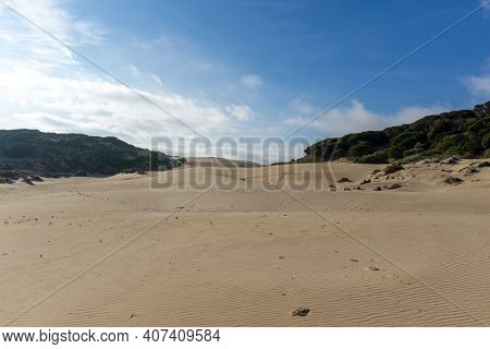 View Of The Large Shifting Wandering Dune In Bolonia On The Costa De La Luz In Andalusia