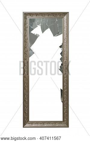 Broken Mirror In Vintage Gilded Frame On White Isolated Background