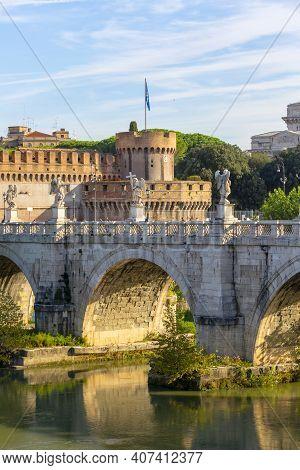 Rome, Italy - October 9, 2020: Aelian Bridge (ponte Sant'angelo) Across The The River Tiber, Complet