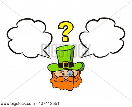 Pensive Leprechaun Emoji With Monocle, Speech Bubble And A Question Mark. Irish Cartoon Labels And S