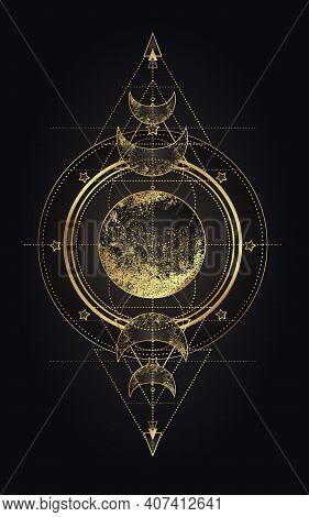 Moon Magic. Triple Moon Pagan Wicca Moon Goddess Symbol. Three-faced Goddess. Maiden, Mother, Crone