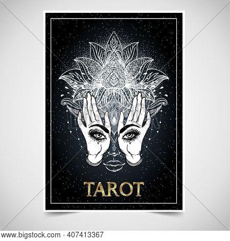 Tarot Reader, Fortuneteller, Spiritual Coach, Mystic Healer Business Card Design Template. Vector Il