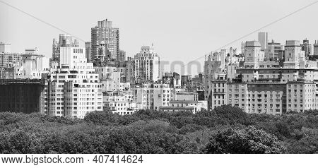 Black And White Panoramic View Of Manhattan Upper East Side Diverse Architecture, New York, Usa.