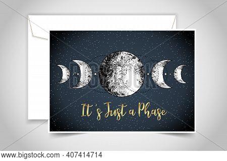 Moon Magic. Triple Moon Pagan Wicca Moon Goddess Symbol. Three-faced Goddess: Maiden, Mother, Crone