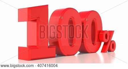 100% Text. One Hundred Percent Red Color Isolated Against White Background. 3D Illustration