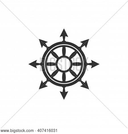 Fantasy Helm Isolated On White. Ship And Boat Steering Wheel Sign. Boat Wheel Control Icon. Rudder L