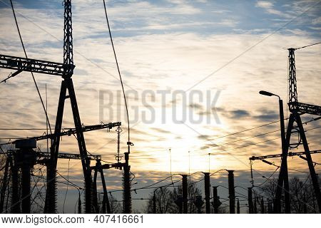 Modern And Industrial, High Voltage Electrical Power Relay Station With A Suspended Lightning Protec