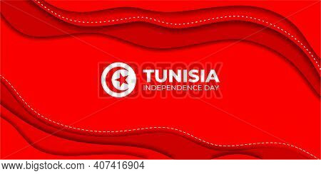 Tunisia Independence Day Vector Illustration. Red Abstract Background. Good Template For Tunisian In