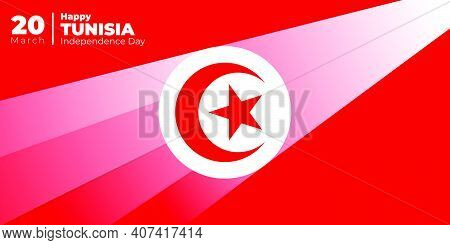 Tunisia Independence Day With Moon And Star Design. Shined Tunisia Emblem Flag. Good Template For Tu