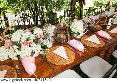 A Centerpiece, Decorated Table For Party Reception.