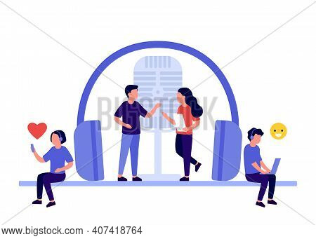 Podcast With People Characters On Radio Studio. People In Headset Listening To Audio, Music, Streami