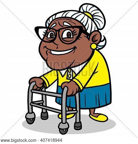 Grandmother With Walker - A Cartoon Illustration Of A Grandmother With A Walker.